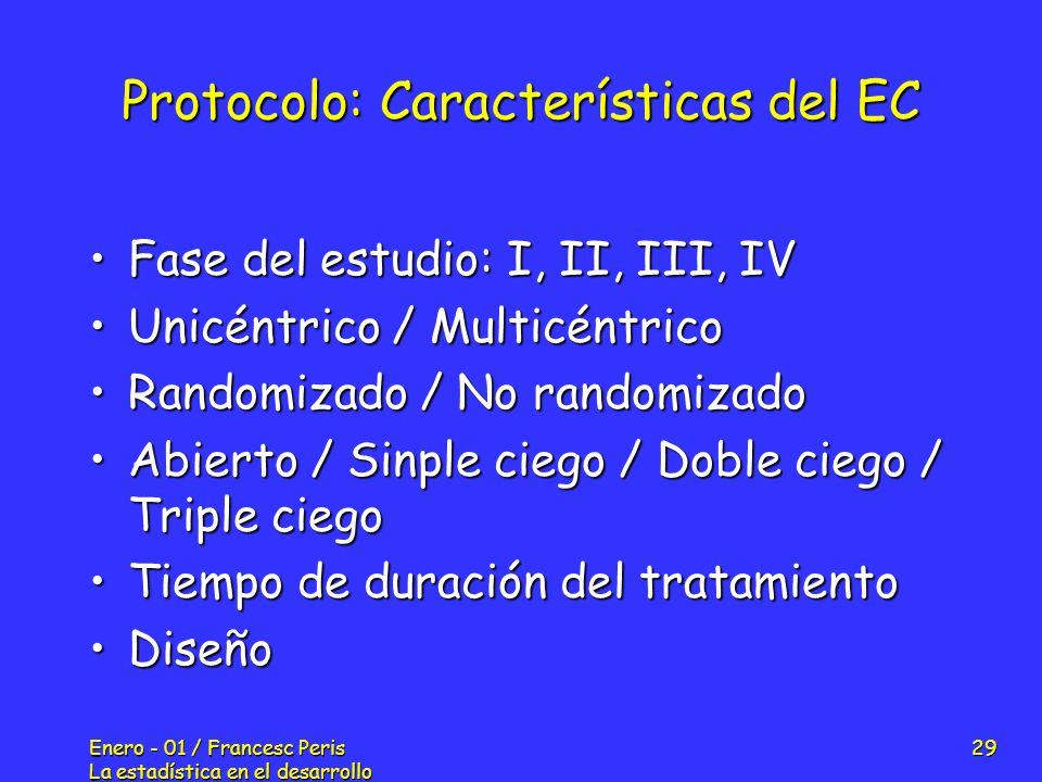 Enero - 01 / Francesc Peris La estadística en el desarrollo de nuevos fármacos 29 Protocolo: Características del EC Fase del estudio: I, II, III, IVFa