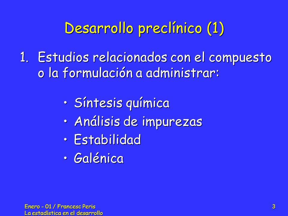 Enero - 01 / Francesc Peris La estadística en el desarrollo de nuevos fármacos 3 Desarrollo preclínico (1) Síntesis químicaSíntesis química Análisis d