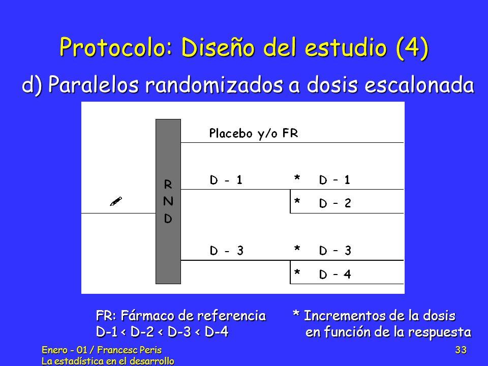 Enero - 01 / Francesc Peris La estadística en el desarrollo de nuevos fármacos 33 Protocolo: Diseño del estudio (4) d) Paralelos randomizados a dosis