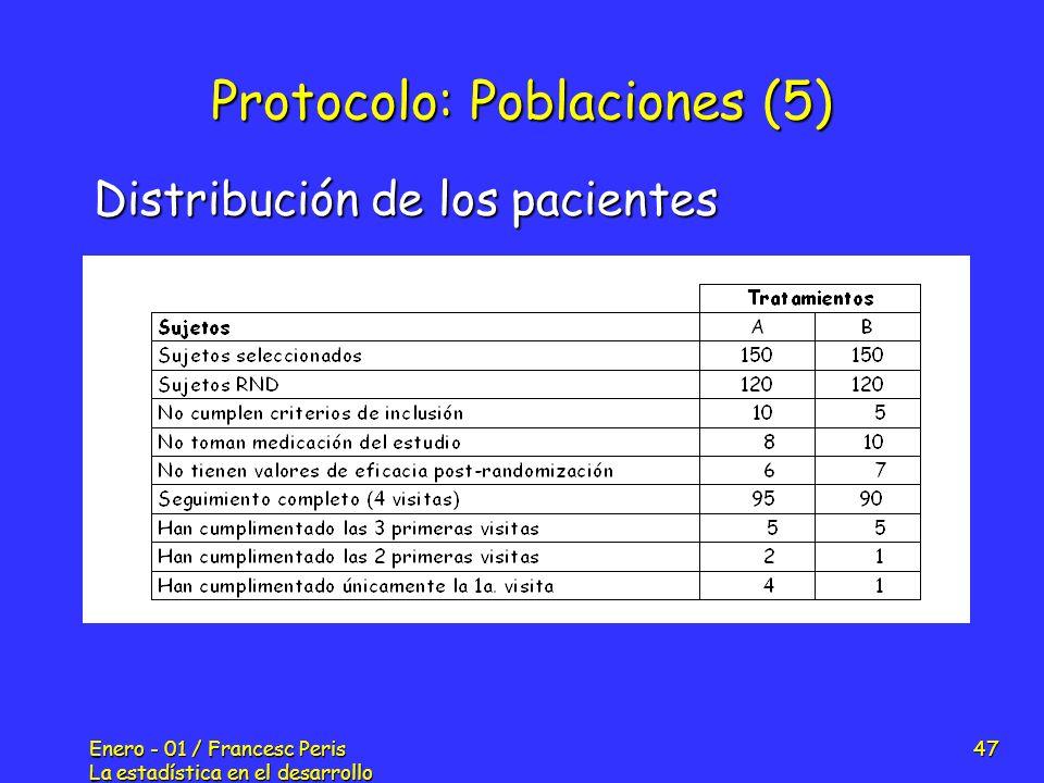 Enero - 01 / Francesc Peris La estadística en el desarrollo de nuevos fármacos 47 Protocolo: Poblaciones (5) Distribución de los pacientes