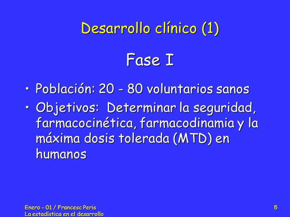 Enero - 01 / Francesc Peris La estadística en el desarrollo de nuevos fármacos 5 Desarrollo clínico (1) Población: 20 - 80 voluntarios sanosPoblación: