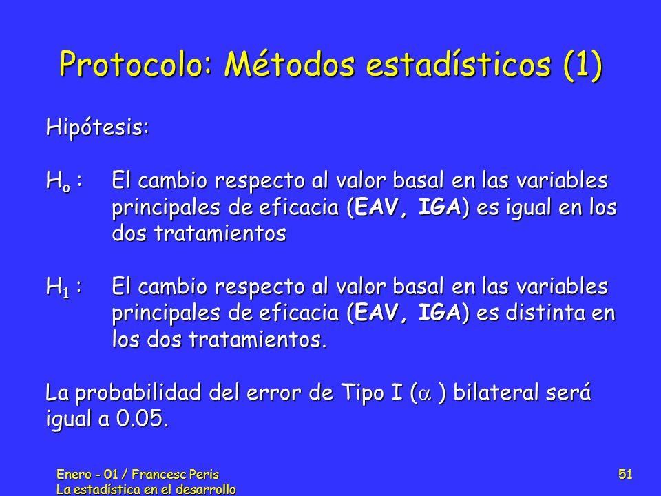 Enero - 01 / Francesc Peris La estadística en el desarrollo de nuevos fármacos 51 Protocolo: Métodos estadísticos (1) Hipótesis: H o :El cambio respec