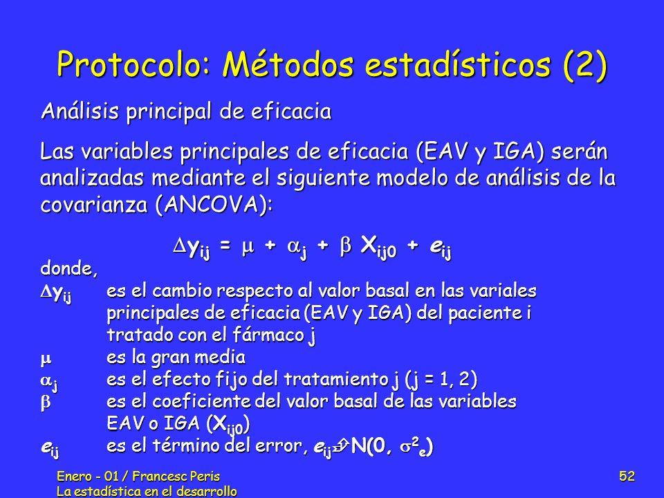 Enero - 01 / Francesc Peris La estadística en el desarrollo de nuevos fármacos 52 Protocolo: Métodos estadísticos (2) Análisis principal de eficacia L