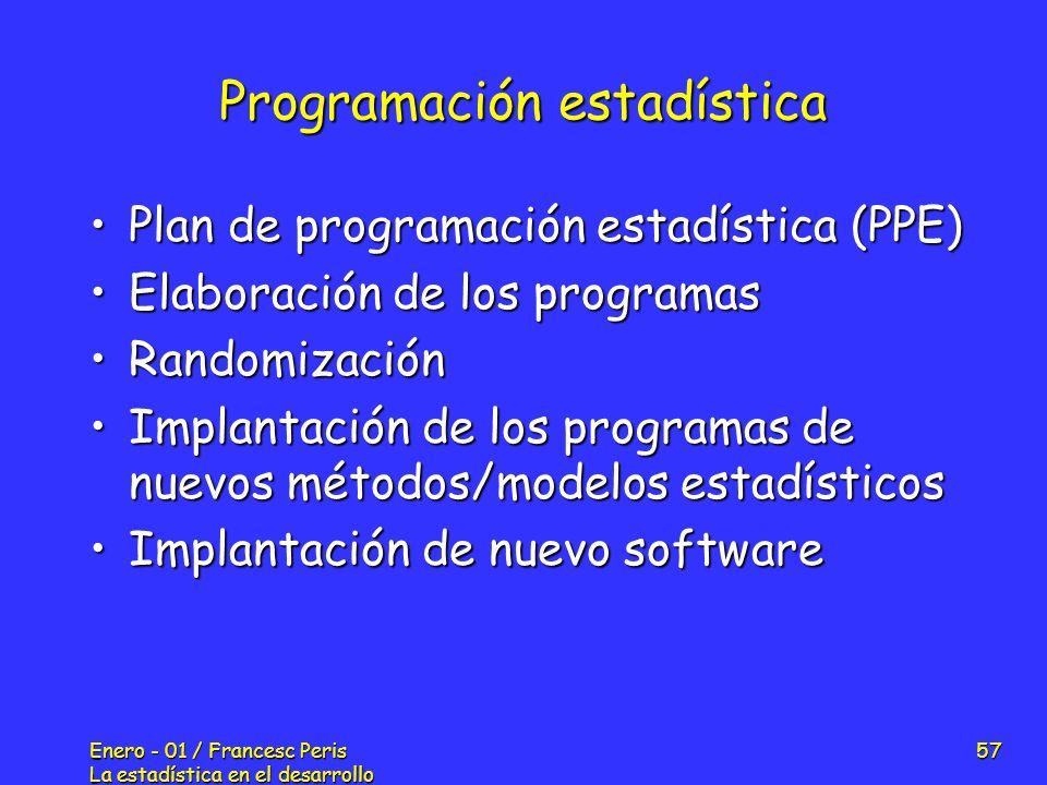 Enero - 01 / Francesc Peris La estadística en el desarrollo de nuevos fármacos 57 Programación estadística Plan de programación estadística (PPE)Plan
