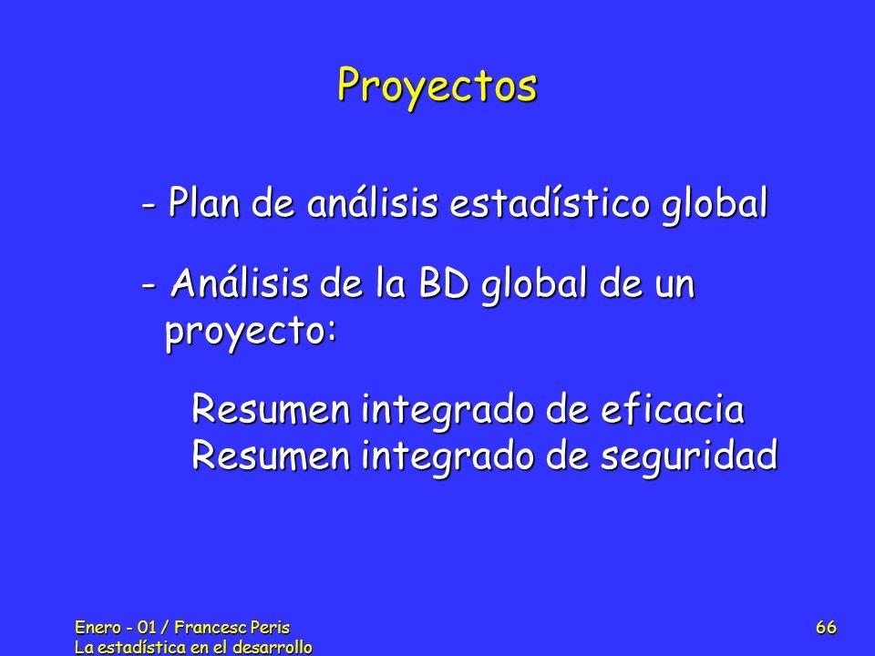 Enero - 01 / Francesc Peris La estadística en el desarrollo de nuevos fármacos 66 Proyectos - Plan de análisis estadístico global - Análisis de la BD