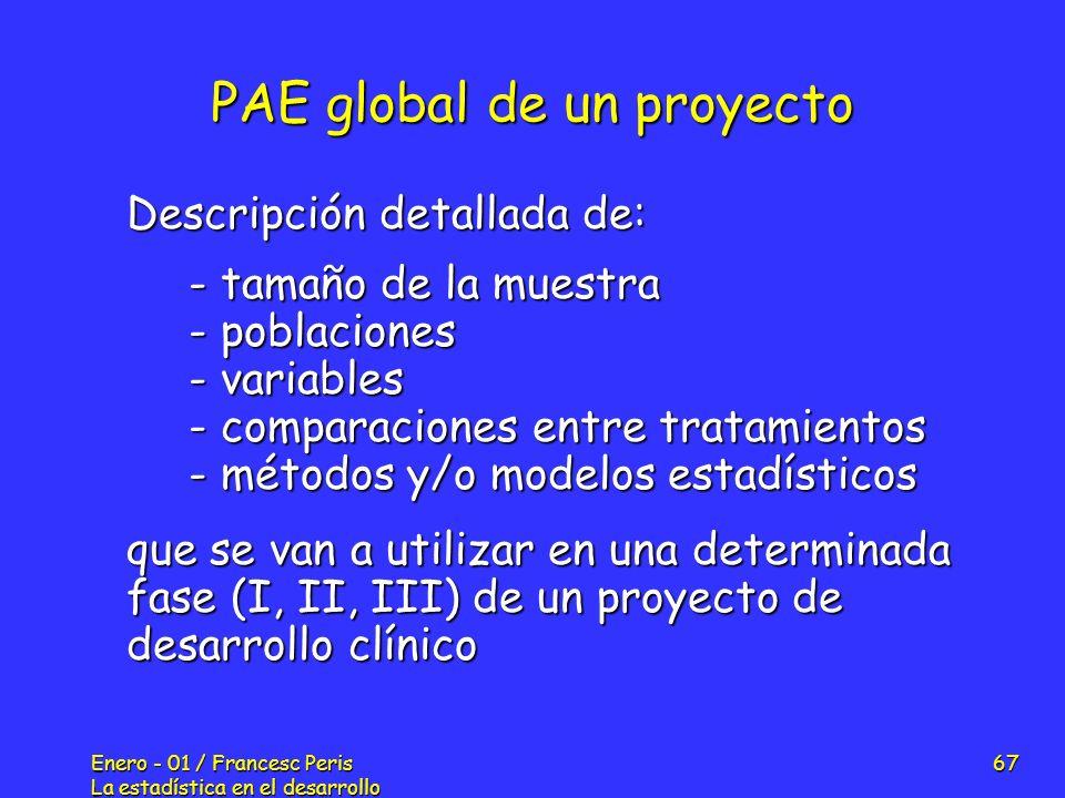 Enero - 01 / Francesc Peris La estadística en el desarrollo de nuevos fármacos 67 PAE global de un proyecto Descripción detallada de: - tamaño de la m