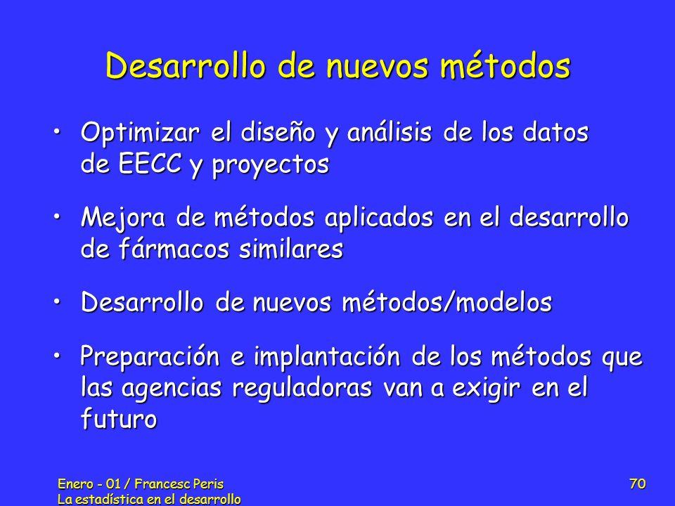 Enero - 01 / Francesc Peris La estadística en el desarrollo de nuevos fármacos 70 Desarrollo de nuevos métodos Optimizar el diseño y análisis de los d