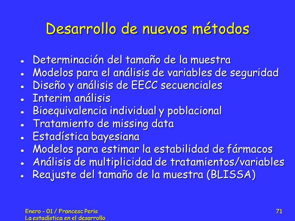 Enero - 01 / Francesc Peris La estadística en el desarrollo de nuevos fármacos 71 Desarrollo de nuevos métodos Determinación del tamaño de la muestra