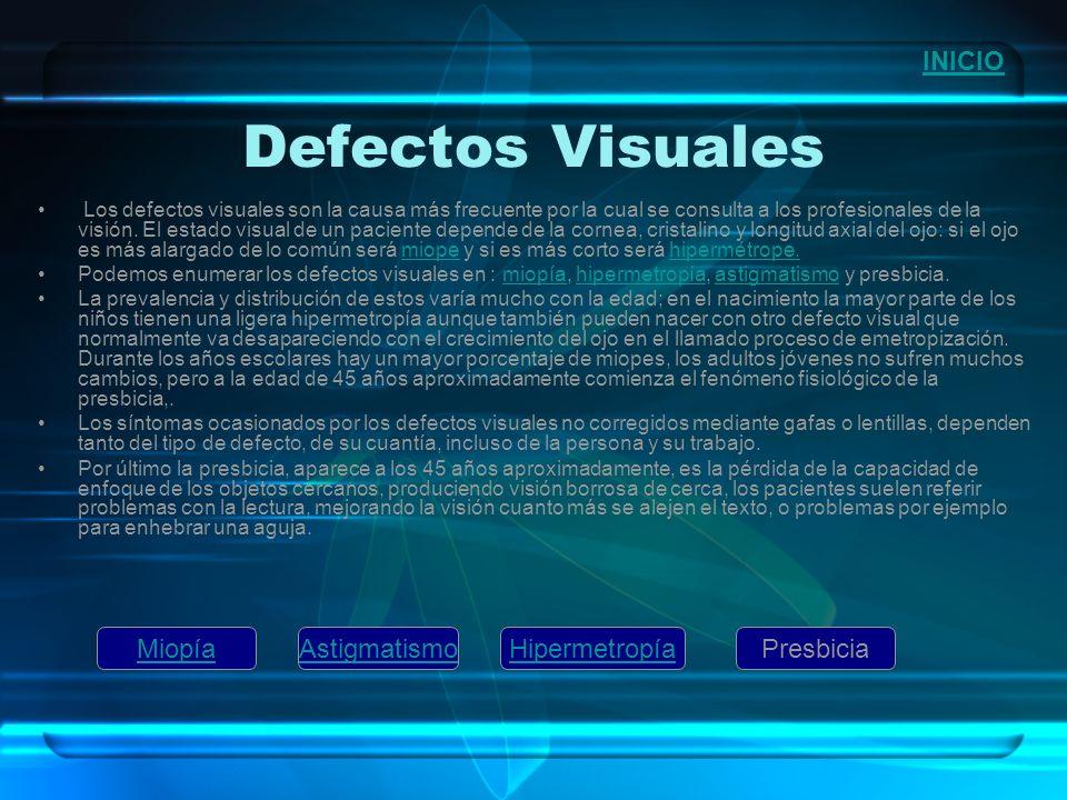 Defectos Visuales Los defectos visuales son la causa más frecuente por la cual se consulta a los profesionales de la visión. El estado visual de un pa