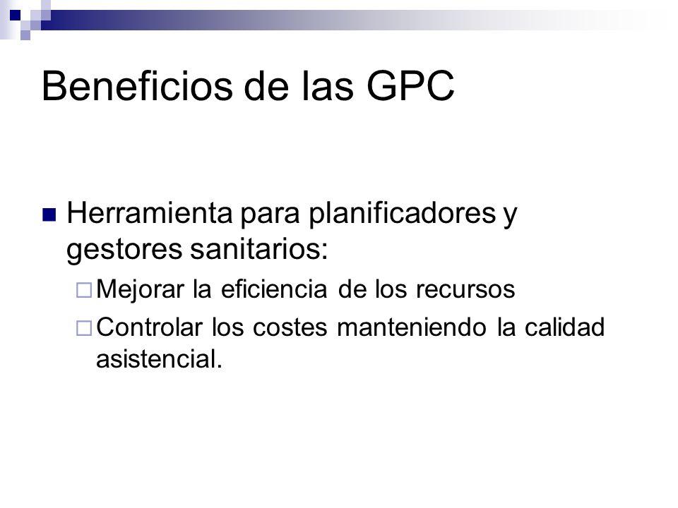 Éxito de las GPC: depende del: contexto clínico, social y sanitario, el sistema de elaboración, las formas de difusión y el método para desarrollarla.