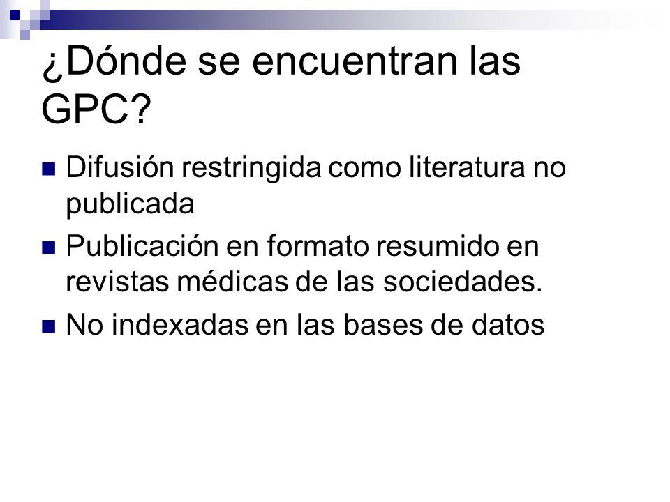 ¿Dónde se encuentran las GPC.Sin mecanismos ágiles de búsqueda bibliográfica.