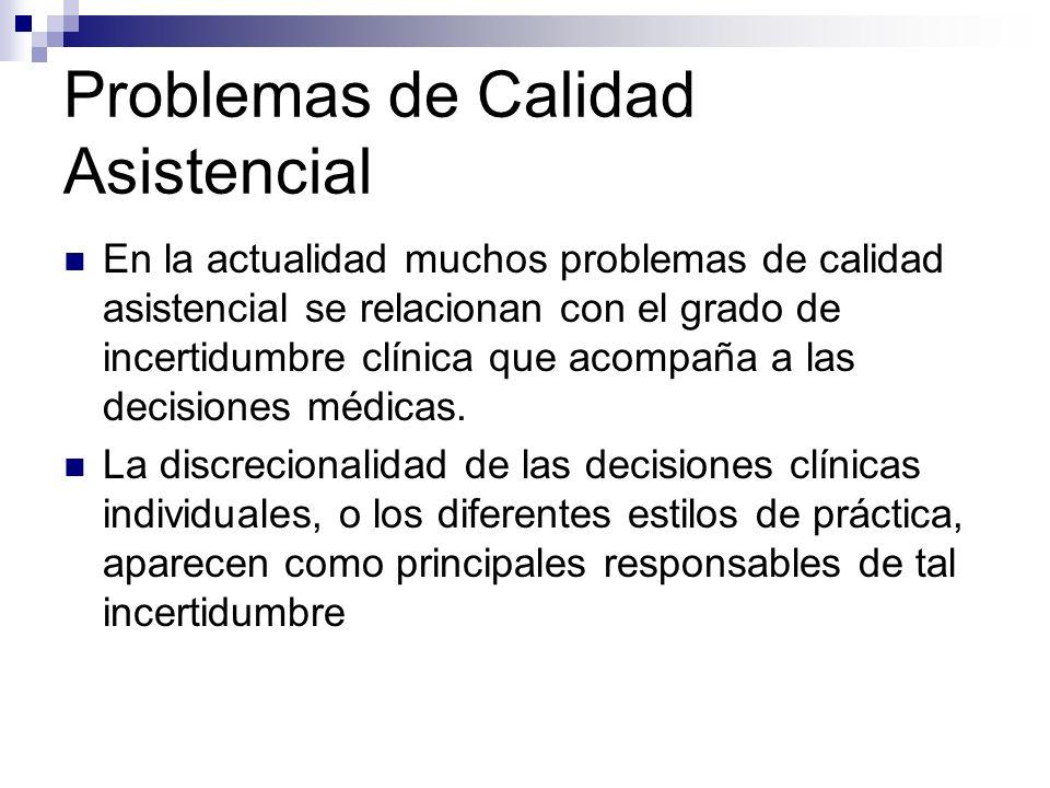 Causa de las diferencias en la toma de decisiones sobre los pacientes Incertidumbre: no existe buena evidencia.