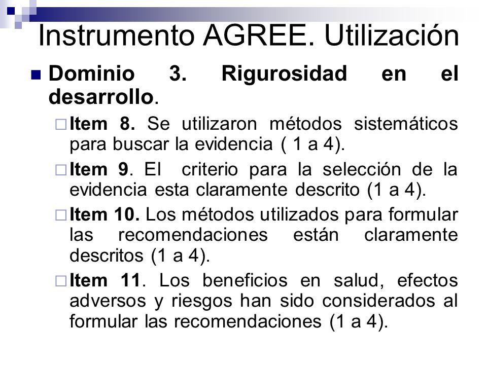 Instrumento AGREE.Utilización Item 12.