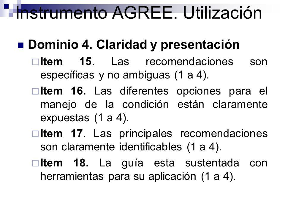 Instrumento AGREE.Utilización Dominio 5. Aplicabilidad.