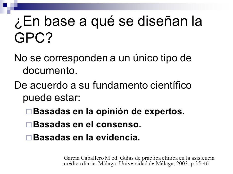 Validez de las GPC: Tienen mayor validez: Basadas en revisiones sistemáticas, Avaladas por centros o grupos de prestigio Detallan la relación entre las recomendaciones y el nivel de evidencia científica disponible.