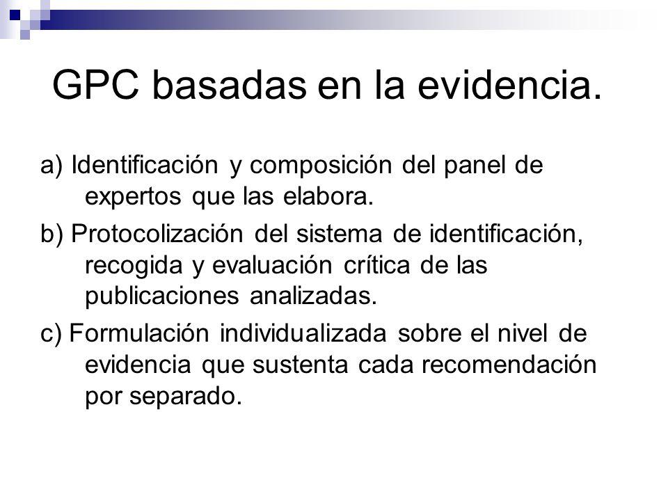 Definición de la OIM de GPC Las GPC son declaraciones que incluyen recomendaciones dirigidas a optimizar la atención a los pacientes y que se basan en la revisión sistemática de la evidencia y la valoración de los beneficios y los riesgos de las opciones asistenciales alternativas.