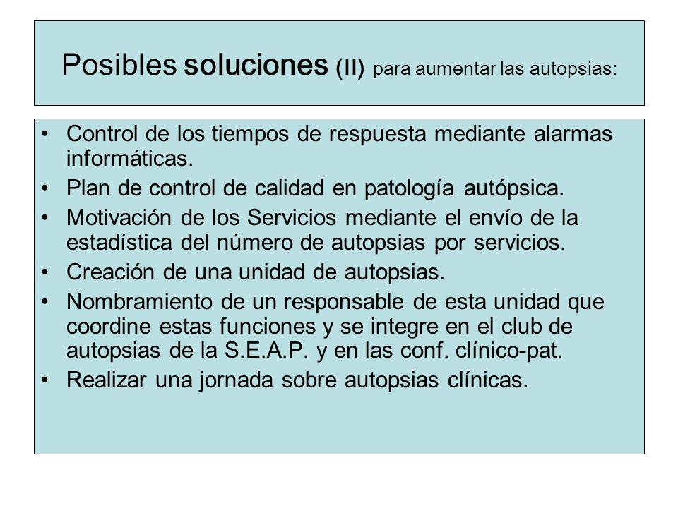 Posibles soluciones (II) para aumentar las autopsias: Control de los tiempos de respuesta mediante alarmas informáticas. Plan de control de calidad en