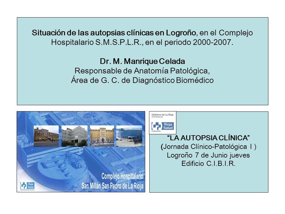 Situación de las autopsias clínicas en Logroño, en el Complejo Hospitalario S.M.S.P.L.R., en el periodo 2000-2007. Dr. M. Manrique Celada Responsable