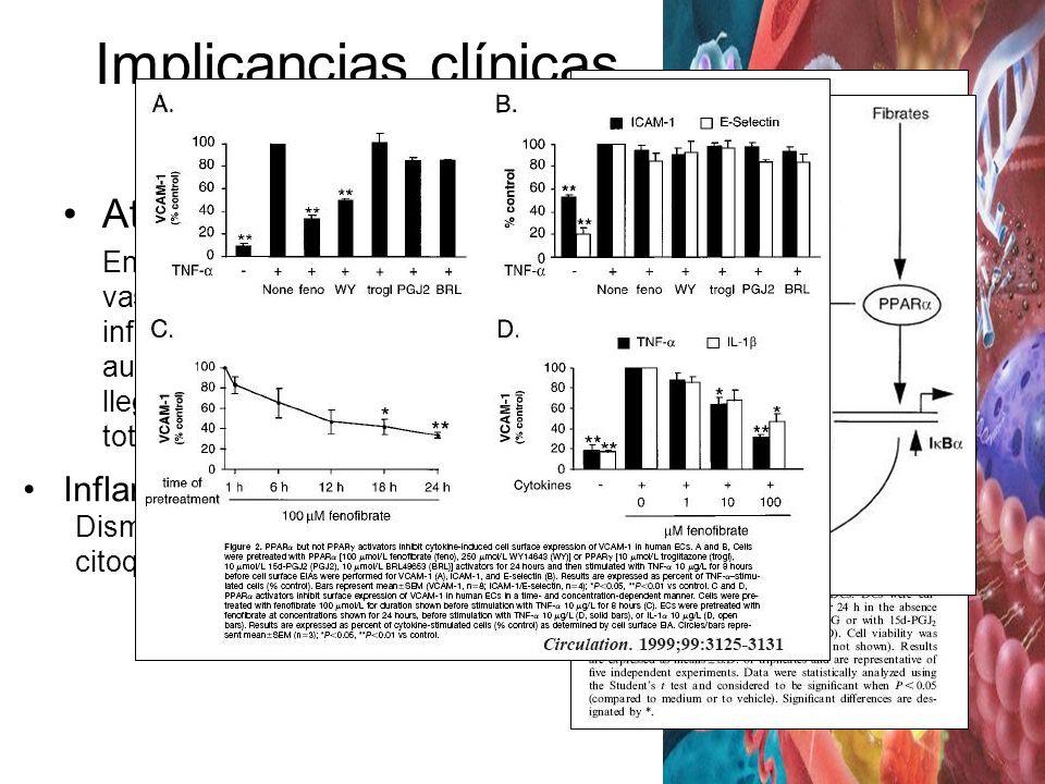 Implicancias clínicas PPAR (1) Aterioesclerosis Endurecimiento del endotelio vascular, que implica la inflamación de este y posterior aumento de tamañ
