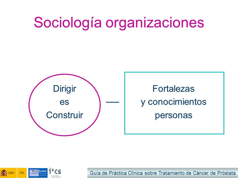 Sociología organizaciones Dirigir es Construir Fortalezas y conocimientos personas Guía de Práctica Clínica sobre Tratamiento de Cáncer de Próstata