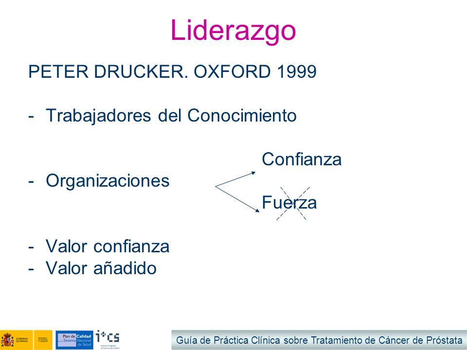 Liderazgo PETER DRUCKER. OXFORD 1999 -Trabajadores del Conocimiento Confianza -Organizaciones Fuerza -Valor confianza -Valor añadido Guía de Práctica