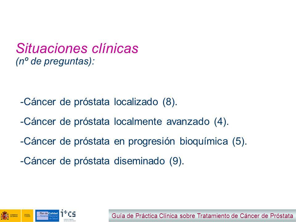 Situaciones clínicas (nº de preguntas): Guía de Práctica Clínica sobre Tratamiento de Cáncer de Próstata -Cáncer de próstata localizado (8). -Cáncer d