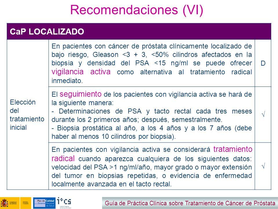 Recomendaciones (VI) Guía de Práctica Clínica sobre Tratamiento de Cáncer de Próstata CaP LOCALIZADO Elección del tratamiento inicial En pacientes con