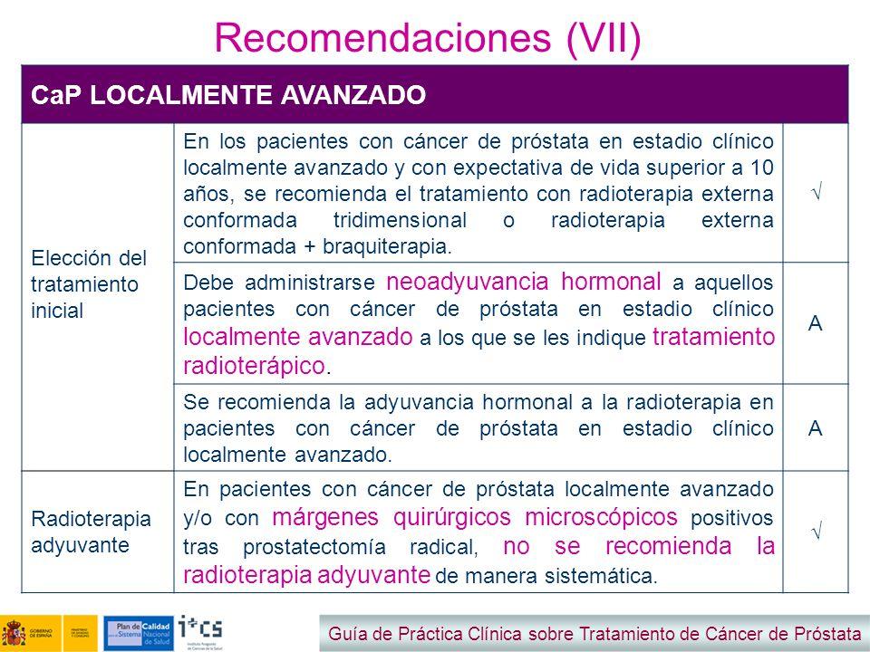 Recomendaciones (VII) Guía de Práctica Clínica sobre Tratamiento de Cáncer de Próstata CaP LOCALMENTE AVANZADO Elección del tratamiento inicial En los