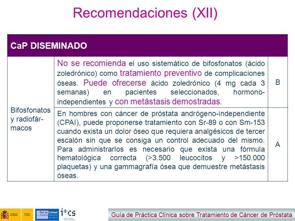 Recomendaciones (XII) Guía de Práctica Clínica sobre Tratamiento de Cáncer de Próstata CaP DISEMINADO Bifosfonatos y radiofár- macos No se recomienda