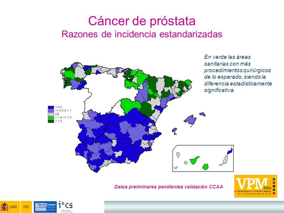 Cáncer de próstata Razones de incidencia estandarizadas Datos preliminares pendientes validación CCAA En verde las áreas sanitarias con más procedimie
