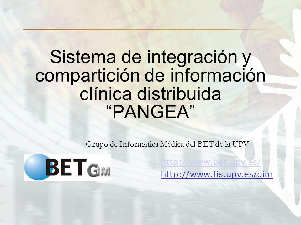 Sistema de integración y compartición de información clínica distribuida PANGEA Grupo de Informática Médica del BET de la UPV http://www.bet.upv.es/ http://www.fis.upv.es/gim