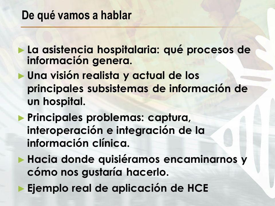 La asistencia hospitalaria: qué procesos de información genera. Una visión realista y actual de los principales subsistemas de información de un hospi