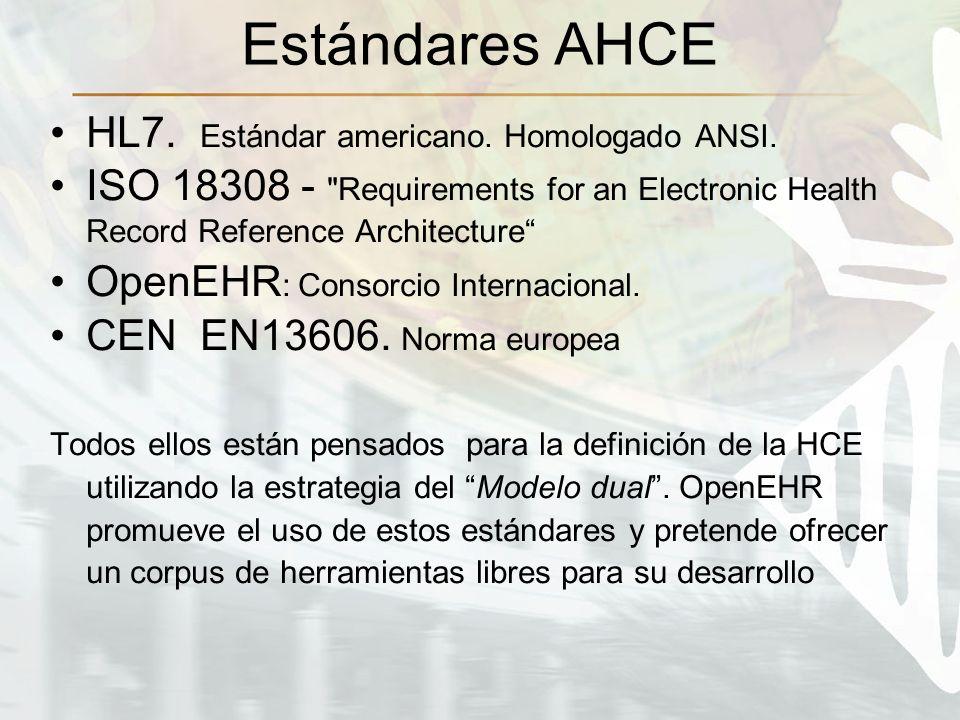 Estándares AHCE HL7. Estándar americano. Homologado ANSI. ISO 18308 -