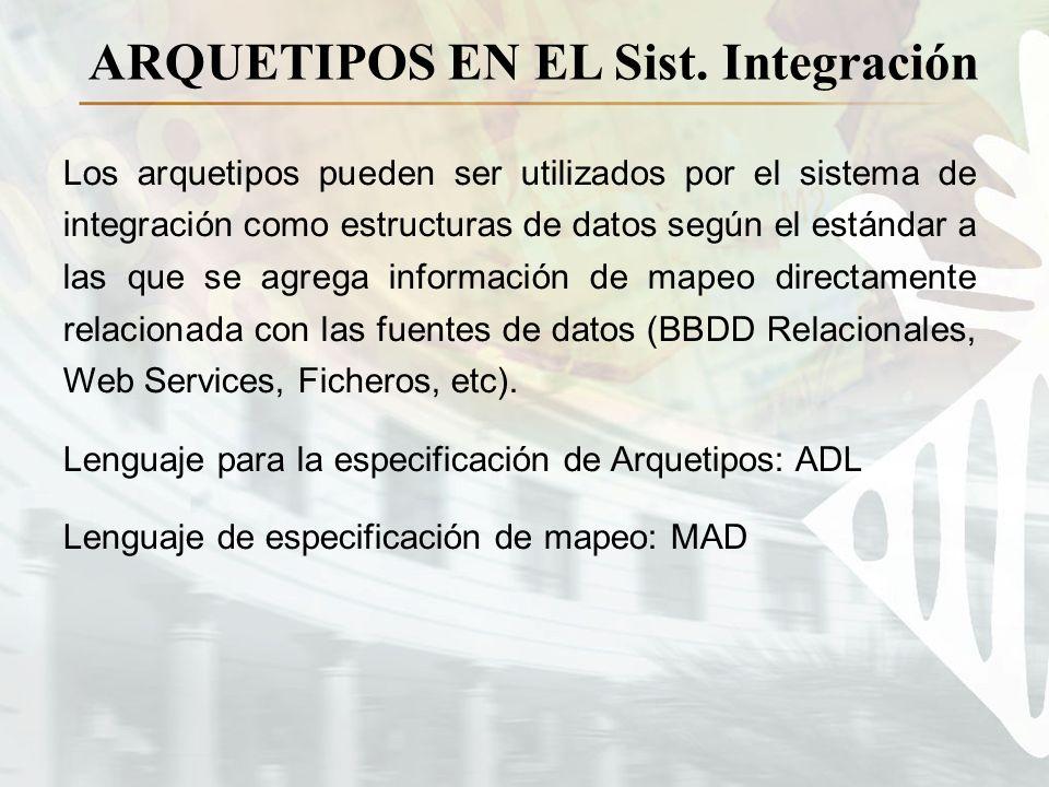 ARQUETIPOS EN EL Sist. Integración Los arquetipos pueden ser utilizados por el sistema de integración como estructuras de datos según el estándar a la