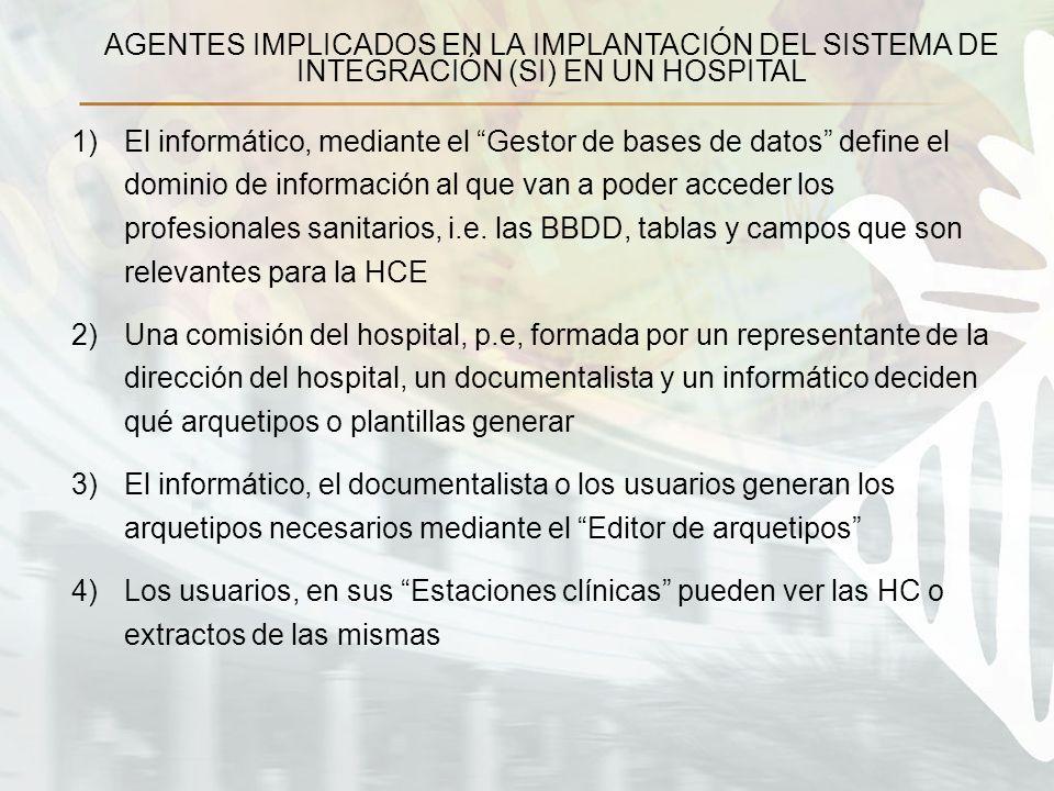1)El informático, mediante el Gestor de bases de datos define el dominio de información al que van a poder acceder los profesionales sanitarios, i.e.