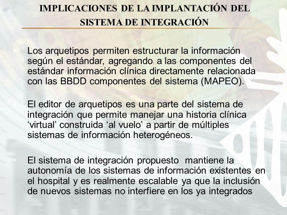 IMPLICACIONES DE LA IMPLANTACIÓN DEL SISTEMA DE INTEGRACIÓN Los arquetipos permiten estructurar la información según el estándar, agregando a las componentes del estándar información clínica directamente relacionada con las BBDD componentes del sistema (MAPEO).