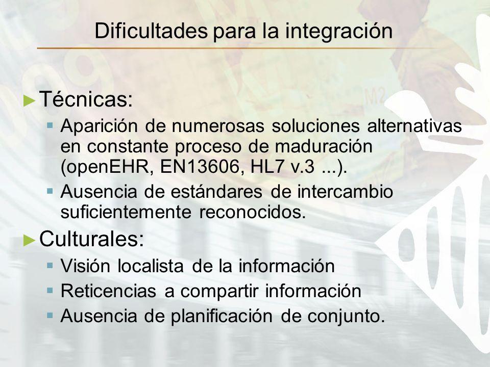 Dificultades para la integración Técnicas: Aparición de numerosas soluciones alternativas en constante proceso de maduración (openEHR, EN13606, HL7 v.3...).