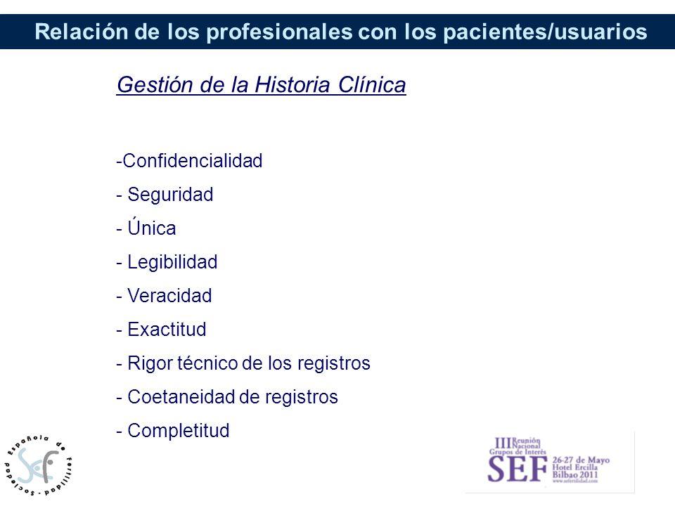Relación de los profesionales con los pacientes/usuarios Gestión de la Historia Clínica -Confidencialidad - Seguridad - Única - Legibilidad - Veracida