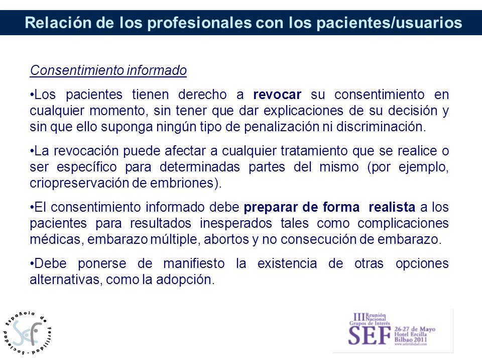 Relación de los profesionales con los pacientes/usuarios Consentimiento informado Los pacientes tienen derecho a revocar su consentimiento en cualquie