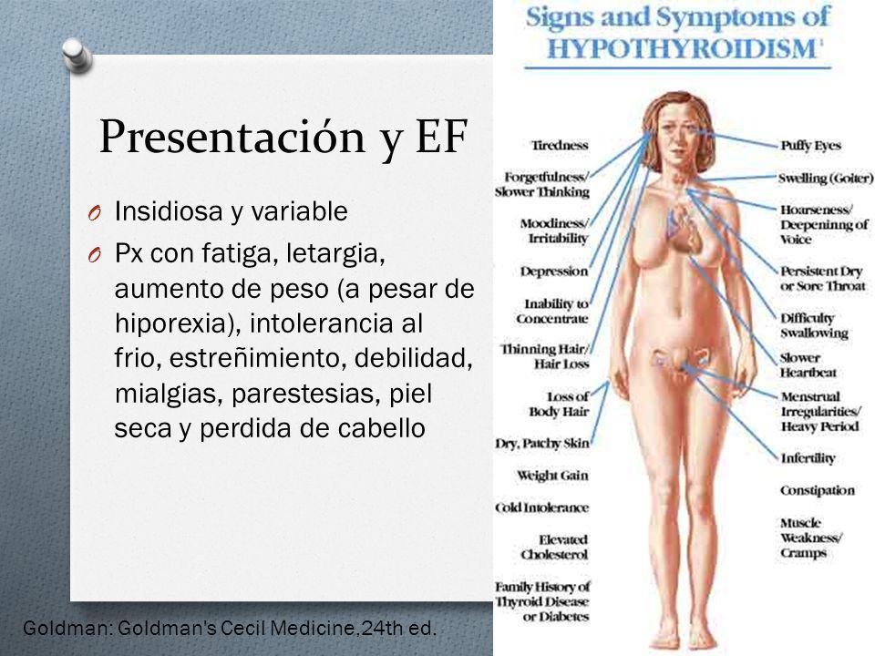 Presentación y EF O Insidiosa y variable O Px con fatiga, letargia, aumento de peso (a pesar de hiporexia), intolerancia al frio, estreñimiento, debil