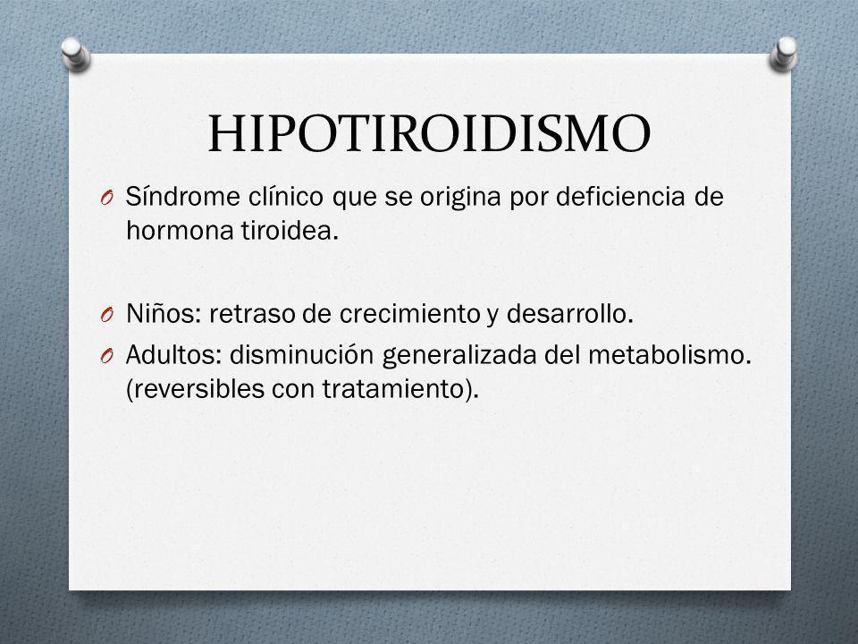 HIPOTIROIDISMO O Síndrome clínico que se origina por deficiencia de hormona tiroidea. O Niños: retraso de crecimiento y desarrollo. O Adultos: disminu