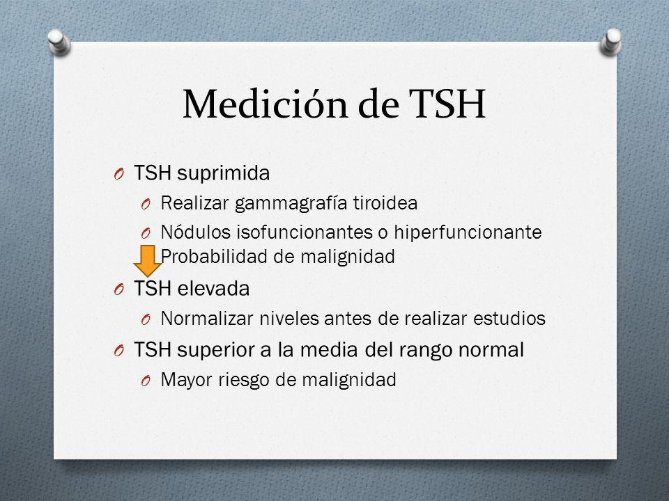 Medición de TSH O TSH suprimida O Realizar gammagrafía tiroidea O Nódulos isofuncionantes o hiperfuncionante Probabilidad de malignidad O TSH elevada