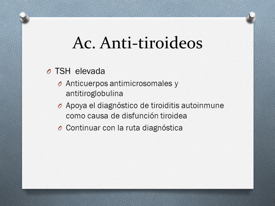 Ac. Anti-tiroideos O TSH elevada O Anticuerpos antimicrosomales y antitiroglobulina O Apoya el diagnóstico de tiroiditis autoinmune como causa de disf