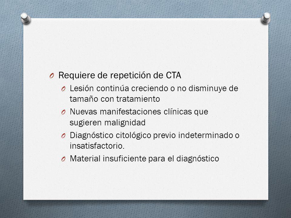 O Requiere de repetición de CTA O Lesión continúa creciendo o no disminuye de tamaño con tratamiento O Nuevas manifestaciones clínicas que sugieren ma