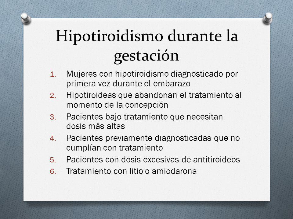 Hipotiroidismo durante la gestación 1. Mujeres con hipotiroidismo diagnosticado por primera vez durante el embarazo 2. Hipotiroideas que abandonan el