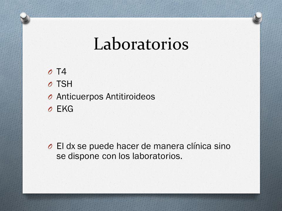 Laboratorios O T4 O TSH O Anticuerpos Antitiroideos O EKG O El dx se puede hacer de manera clínica sino se dispone con los laboratorios.