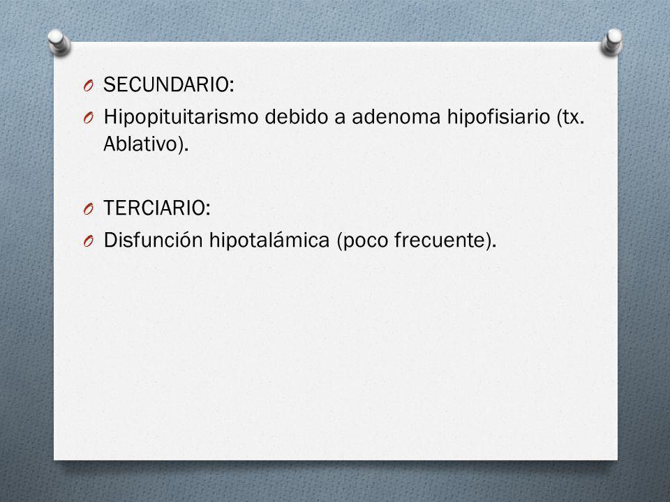O SECUNDARIO: O Hipopituitarismo debido a adenoma hipofisiario (tx. Ablativo). O TERCIARIO: O Disfunción hipotalámica (poco frecuente).