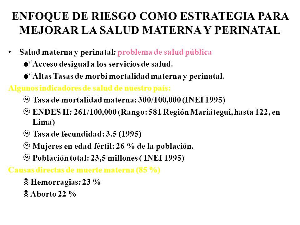 ENFOQUE DE RIESGO COMO ESTRATEGIA PARA MEJORAR LA SALUD MATERNA Y PERINATAL Salud materna y perinatal: problema de salud pública Acceso desigual a los