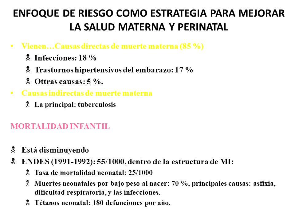 ENFOQUE DE RIESGO COMO ESTRATEGIA PARA MEJORAR LA SALUD MATERNA Y PERINATAL Vienen…Causas directas de muerte materna (85 %) Infecciones: 18 % Trastorn