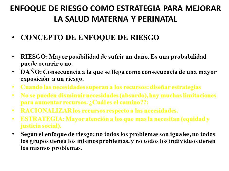 ENFOQUE DE RIESGO COMO ESTRATEGIA PARA MEJORAR LA SALUD MATERNA Y PERINATAL CONCEPTO DE ENFOQUE DE RIESGO RIESGO: Mayor posibilidad de sufrir un daño.